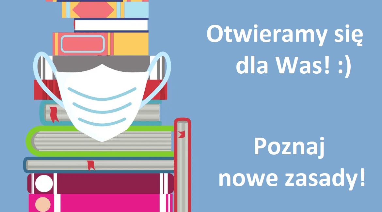 książki w masce z tekstem otwieramy się dla was poznaj nowe zasady