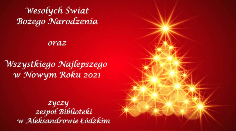 życzenia bożonarodzeniowe, grafika z choinką na czerwonym tle